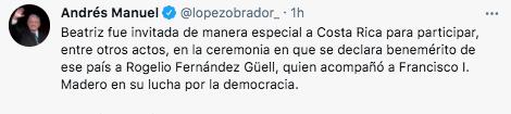 El presidente López Obrador presumió el viaje de Gutiérrez Müller a Costa Rica (Foto: Twitter@lopezobrador_)