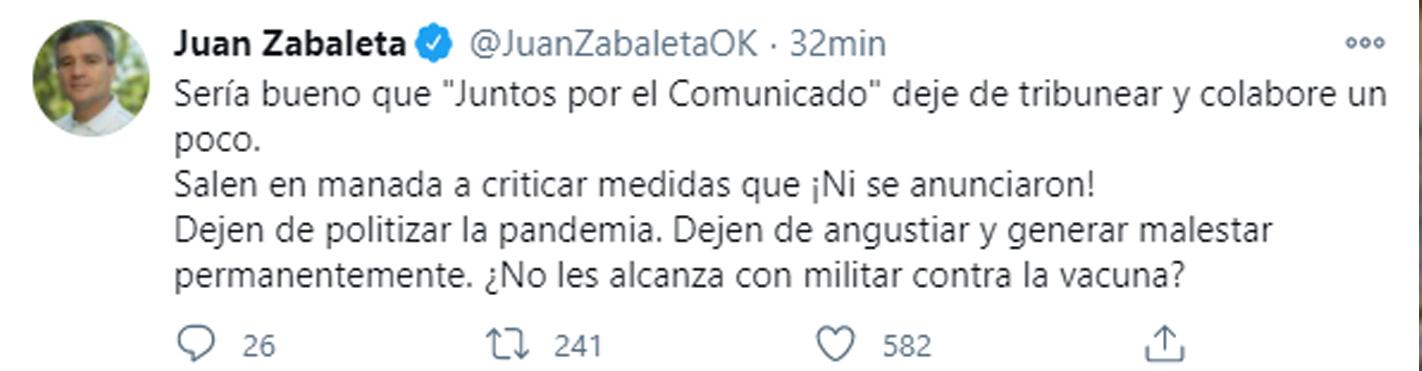 El mensaje de Juan Zabaleta (Twitter)