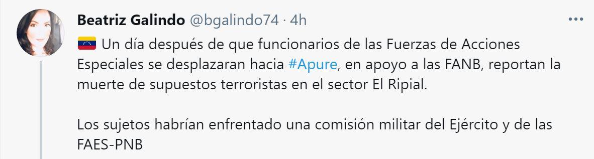 El tuit de la periodista Beatriz Galindo, sobre los supuestos abatidos en El Rupial
