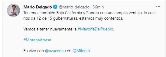 Mario Delgado afirmó que Morena ganó 12 de 15 gubernaturas (Foto: Twitter@mario_delgado)