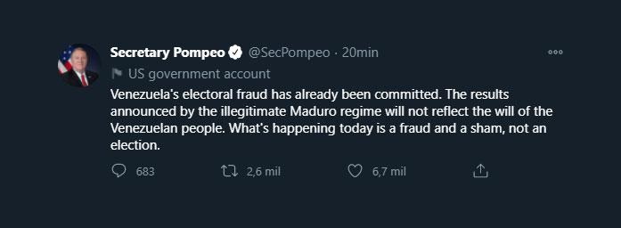 El tuit de Pompeo (Twitter: @SecPompeo)