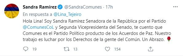 Post en Twitter de Sandra Ramírez. Twitter:  @SandraComunes