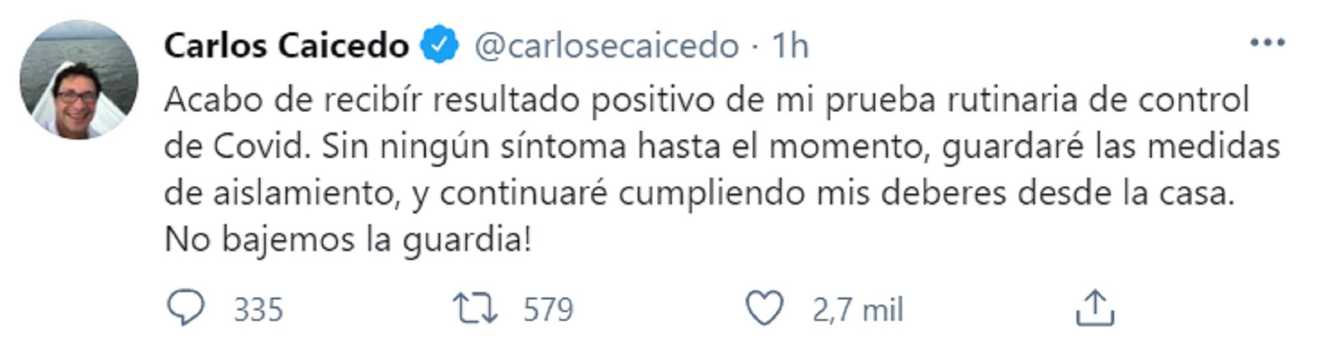 Gobernador de Magdalena Carlos Caicedo  dio positivo para covid-19. Foto: Twitter: Carlos Caicedo.
