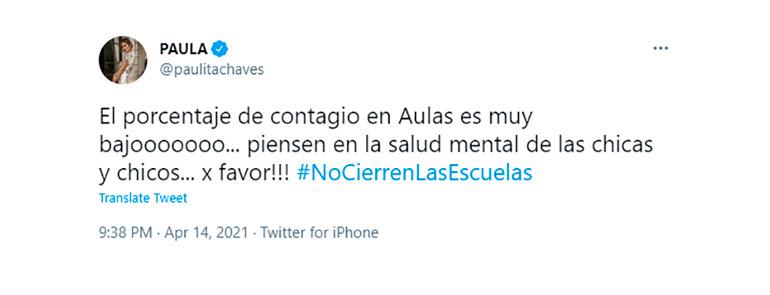 El tweet de Paula Chaves