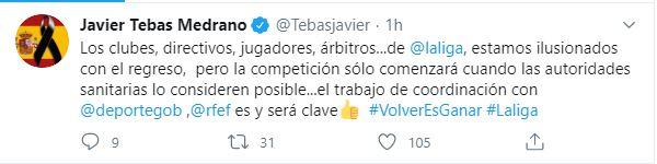 El mensaje que escribió en su cuenta de Twitter Javier Tebas
