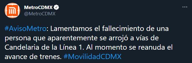 Por medio de la cuenta oficial del STC se confirmó la muerte de una persona (Foto: Twitter@MetroCDMX)