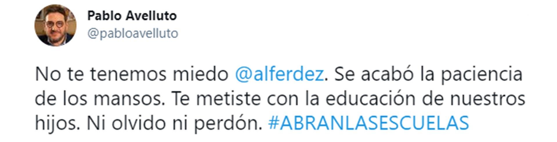 Uno de los tuits que disparó la controversia entre Ernesto Tenembaum y Pablo Avelluto.