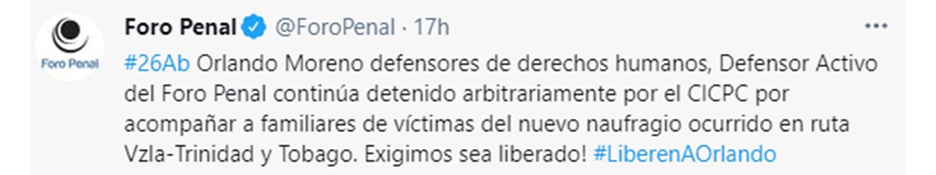El tuit del Foro Penal