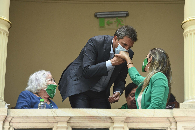 El presidente de la Cámara de Diputados, Sergio Massa, presenció la sesión del Senado junto a su esposa, Malena Galmarini