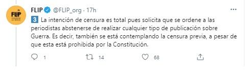FLIP alerta sobre censura en contra de las periodistas Catalina Ruiz-Navarro y Matilde Londoño. Foto: Twitter FLIP.