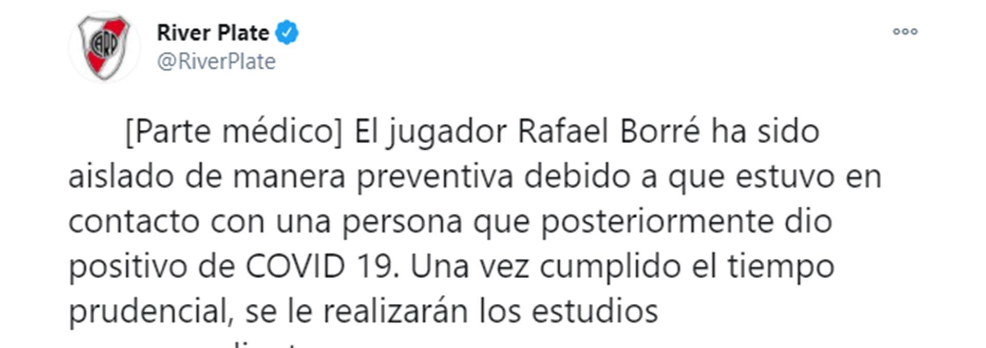 El parte médico de Rafael Santos Borré