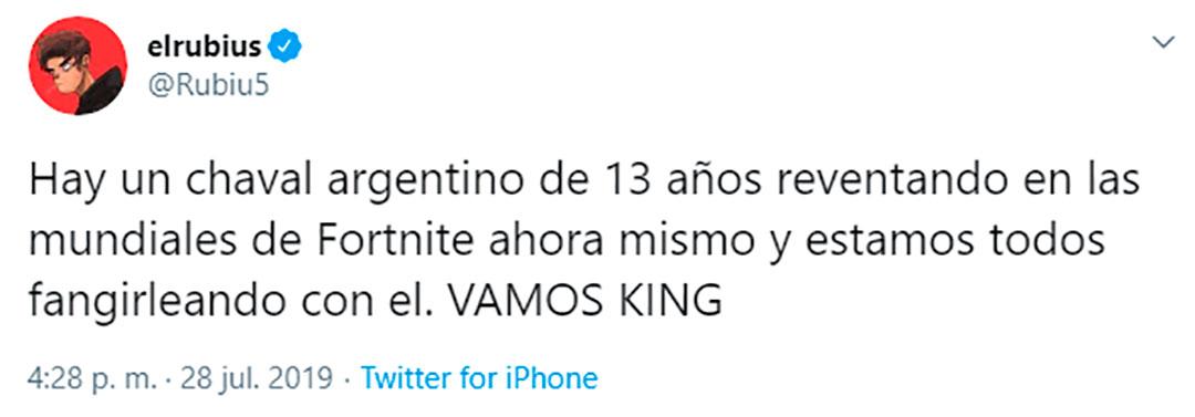 El talento del argentino en el mundial ha tenido, por ejemplo, el apoyo del famoso youtuber El Rubius