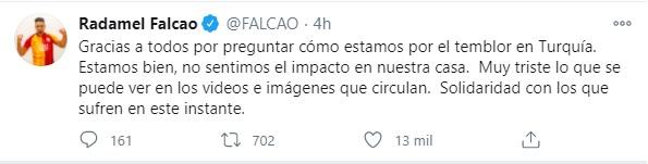Falcao envió un mensaje de tranquilidad a sus seguidores, luego del terremoto en Turquía. Foto: Twitter Falcao.