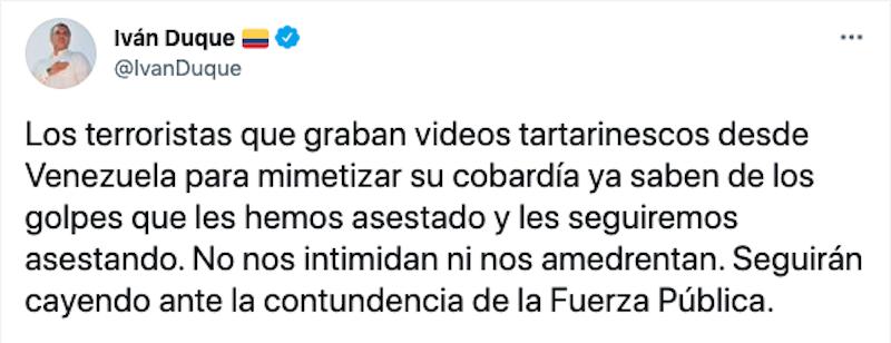 Respuesta de Duque a video de las disidencias de las Farc. Pantallazo.