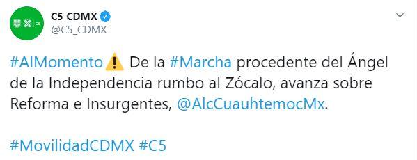 El gobierno de la CDMX avisa sobre manifestantes encapuchados sobre Reforma (Foto: Twitter / @C5_CDMX)