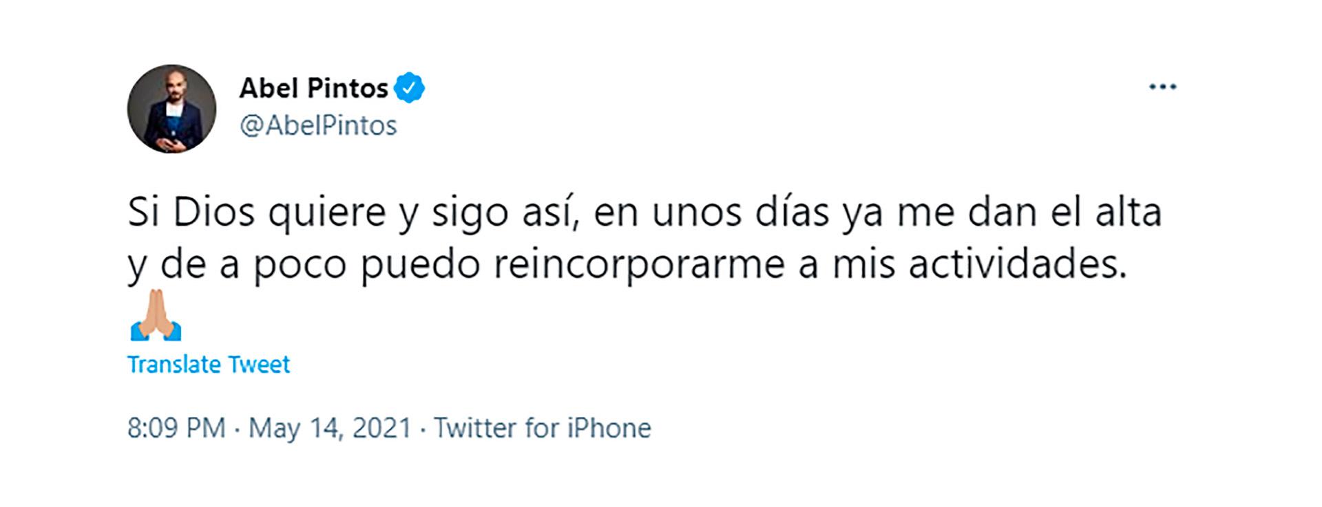 Abel Pintos habló por Twitter (Foto: @abelpintos)