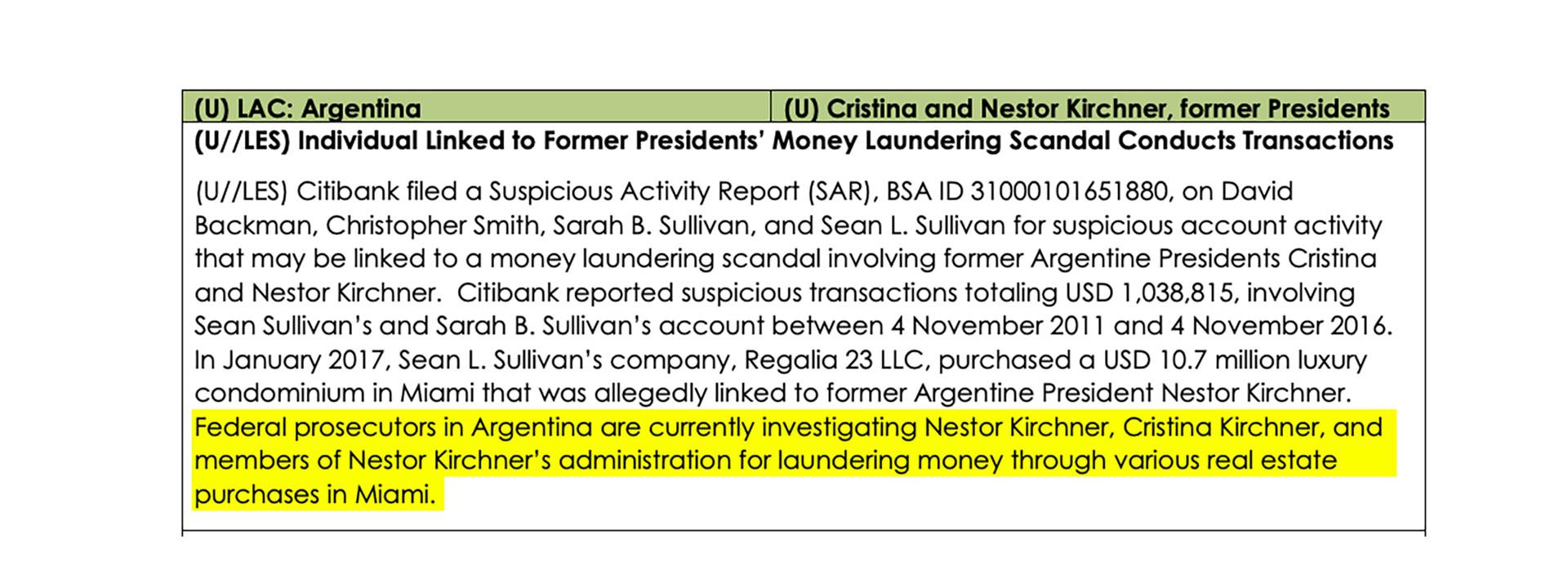 El documento secreto de la FinCen que vincula a Sullivan con la investigación por posible lavado de dinero en el gobierno de Néstor y Cristina Kirchner.