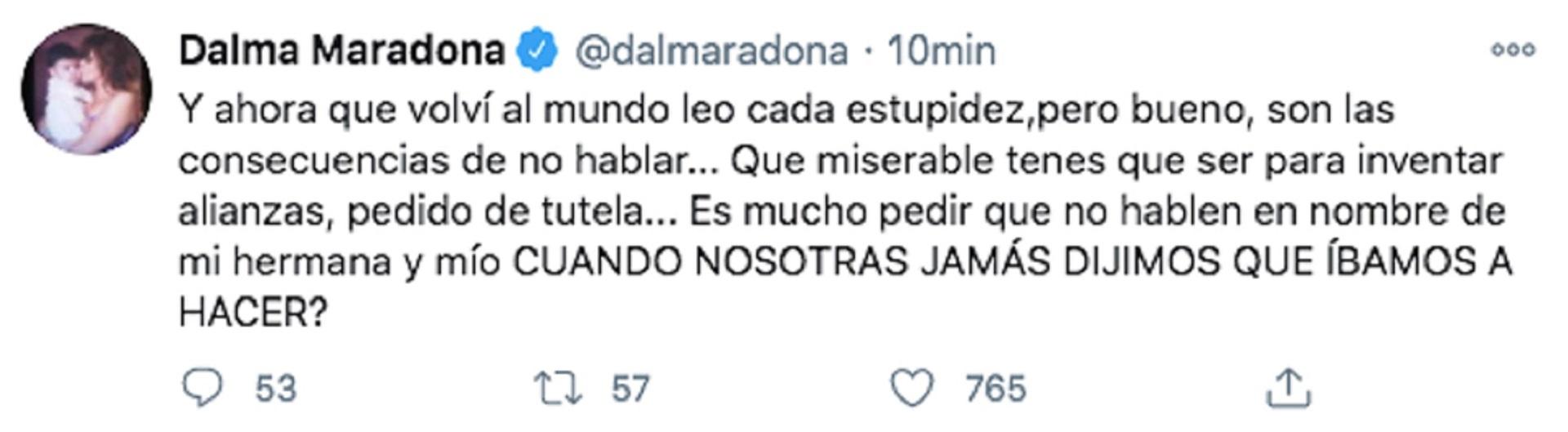 La publicación de Dalma Maradona