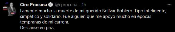 Mensaje de Ciro Procuna ante la muerte de Roblero (Foto: Twitter@cprocuna)