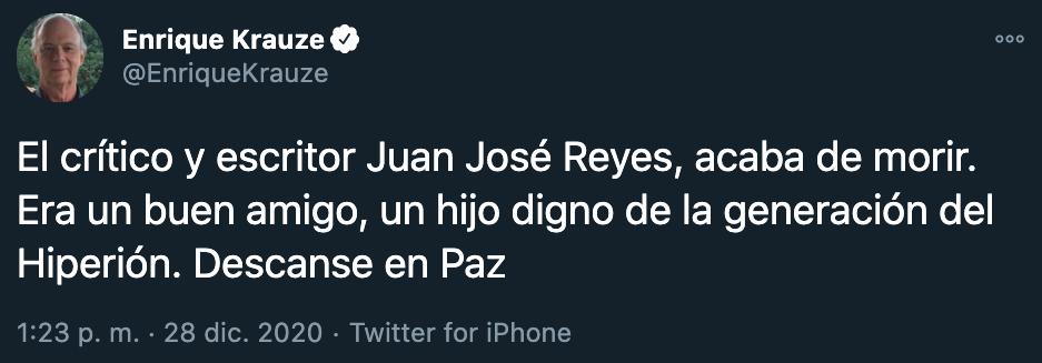 Enrique Krauze confirmó la noticia a través de sus redes sociales (Foto: Twitter)