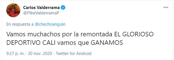 Carlos Valderrama alienta al Deportivo Cali previo al partido ante Vélez Sarsfield