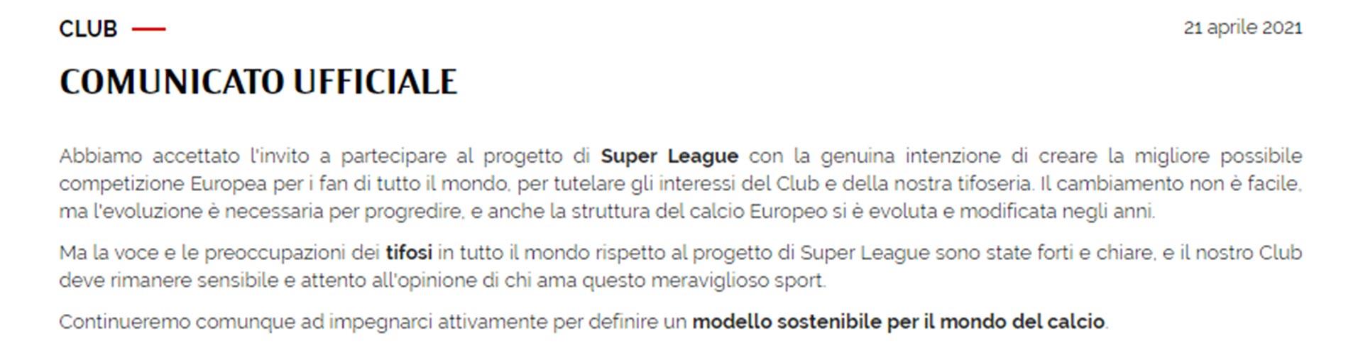 El comunicado del Milan