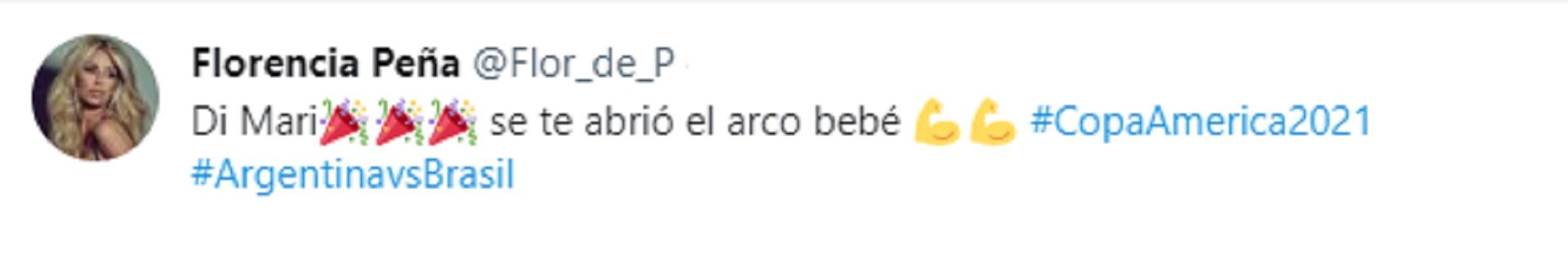 Los tuits de Florencia Pea durante la final de la Copa Amrica