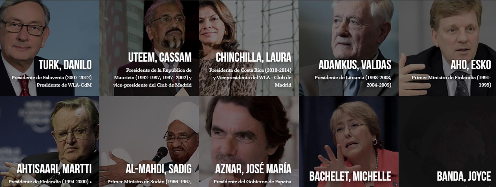Algunos de los ex mandatarios que integran el Club de Madrid, tal como figuran en su sitio web