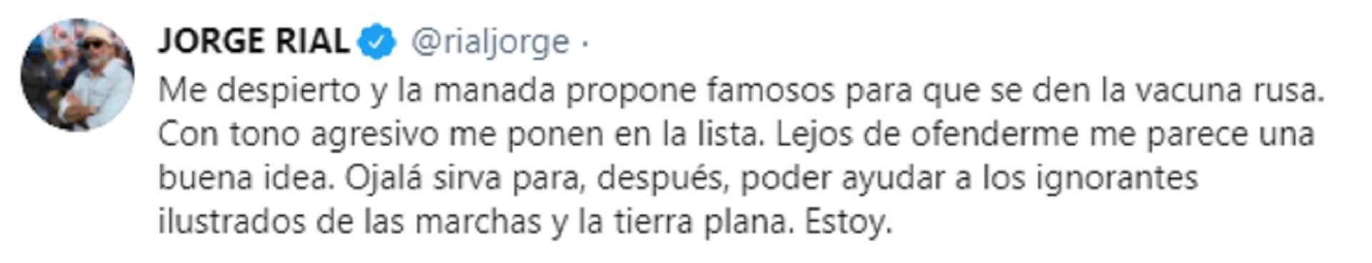 El tuit de Jorge Rial