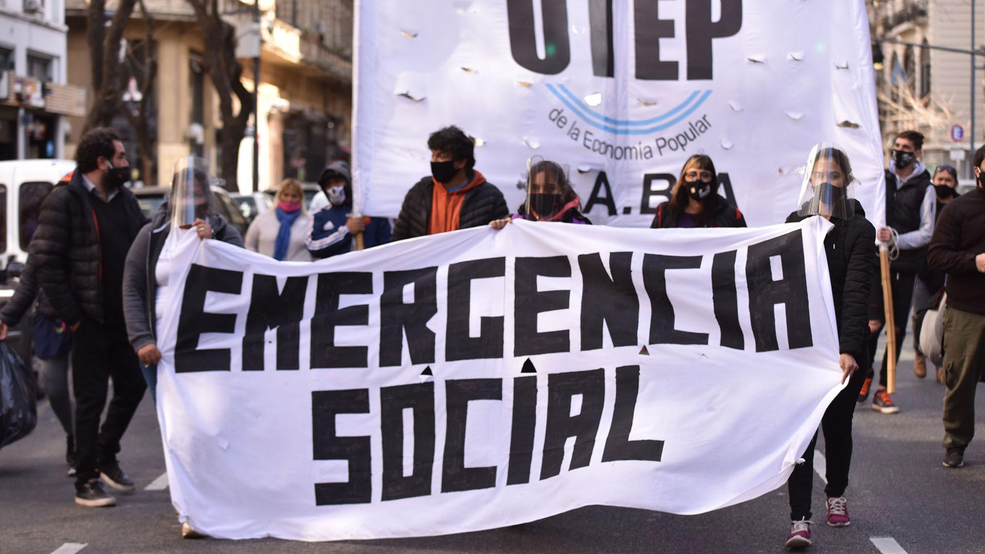La emergencia social fue la bandera que llevaron adelante durante el reclamo