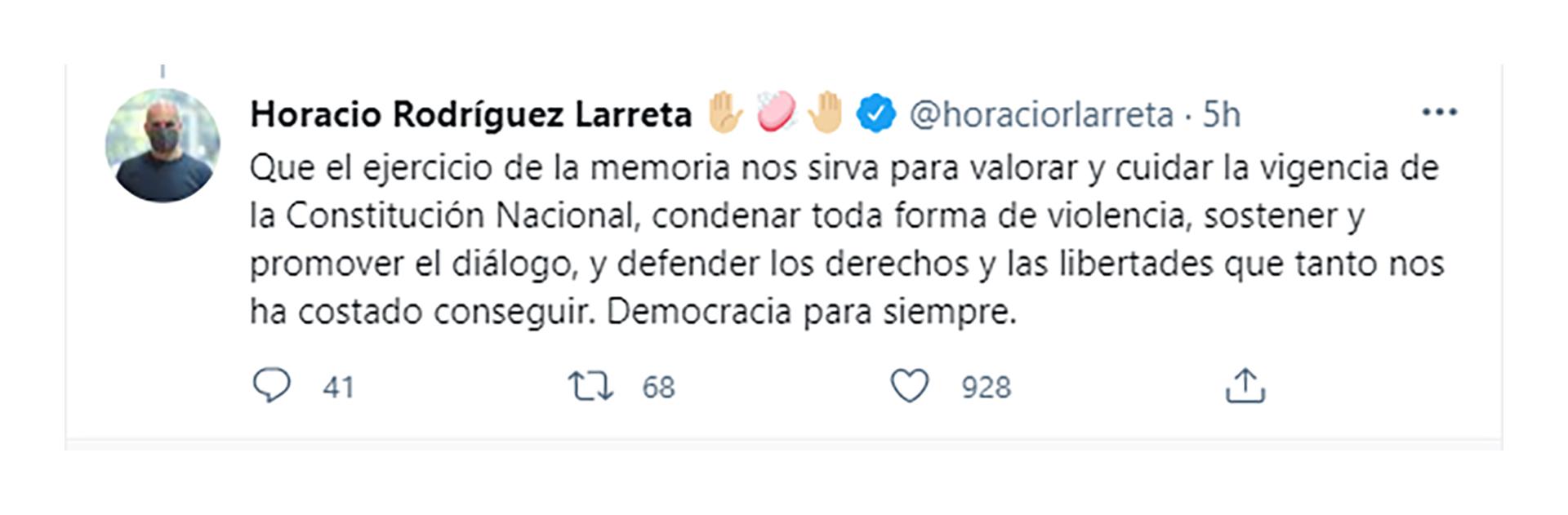 El mensaje de Larreta por el Día de la Memoria por la Verdad y la Justicia (Twitter)