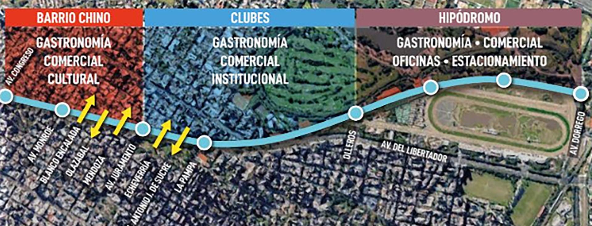 Mapa del corredor Viaducto bajo Mitre