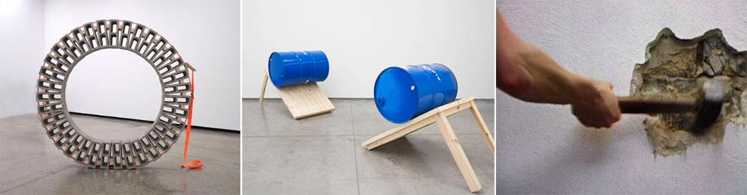 """La """"Rueda"""" de Vincent Ganivet, los """"Dos barriles"""" de Zwei Fässer y una captura del video de Monica Bonvicini"""