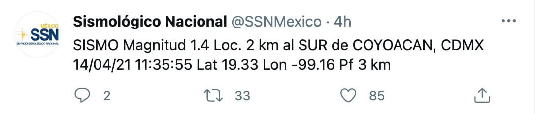Debido a la baja magnitud del temblor, no fue necesario activar la alerta sísmica (Foto: Twitter/SSNMexico)