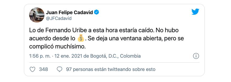 Des complications pour parvenir à un accord économique entre Millonarios et Fernando Uribe compliquent l'arrivée de l'attaquant colombien au club des ambassadeurs / (Twitter: @JFCadavid).