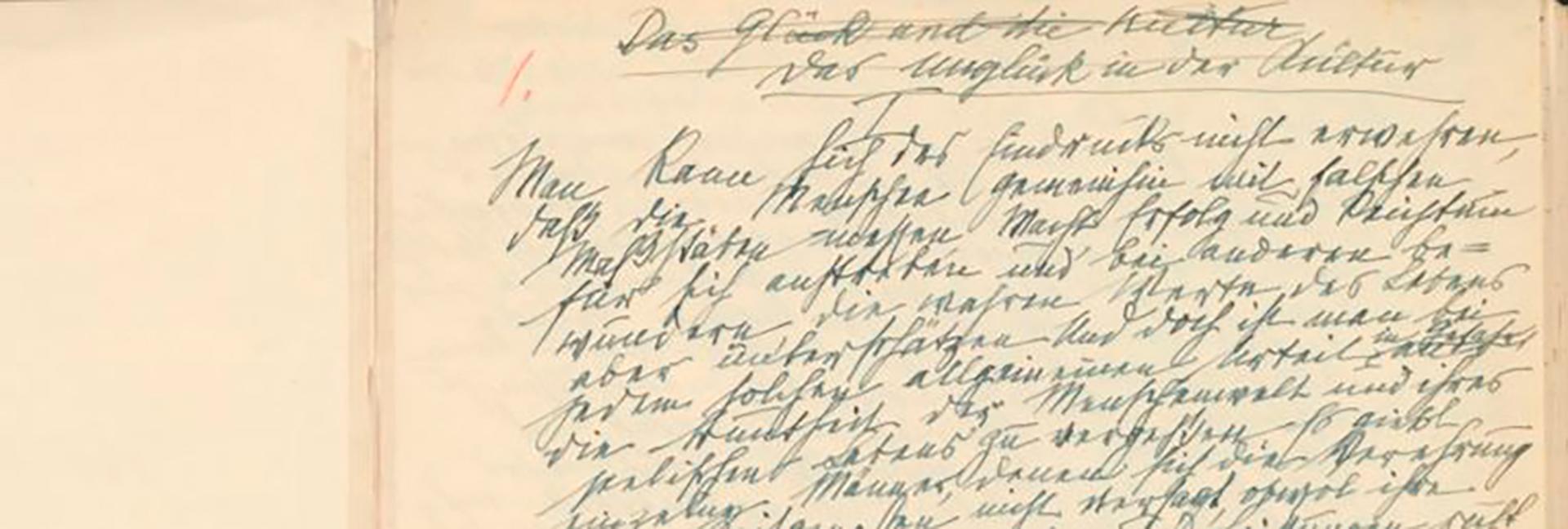 """Este manuscrito original de Freud es una copia en limpio donde se ve que primero tituló, en alemán, """"La felicidad y la cultura"""" y luego lo tachó y le puso """"La infelicidad en la cultura"""" (Gentileza de Lionel F. Klimkiewicz)"""