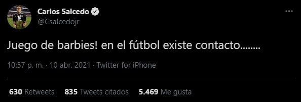 Con este tuit, Salcedo mostró su enojo por su expulsión (Foto: Twitter/Csalcedojr)