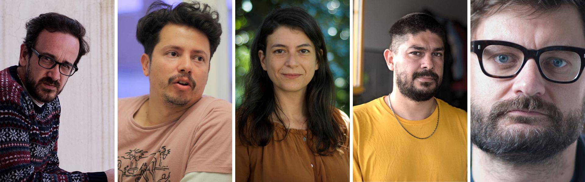 """5 autores que, según Crespi, hacen """"realismo infame"""": Luciano Lamberti, Francisco Bitar, Samanta Schweblin, Carlos Godoy y Federico Falco"""