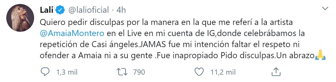 Las disculpas de Lali Espósito