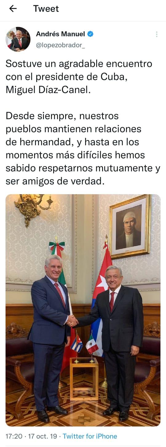La publicación original de Andrés Manuel López Obrador donde apareció la fotografía por primera vez (Foto: Twitter)