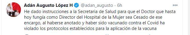 Otros funcionarios que se vacunaron fueron destituidos (Foto: Twitter)