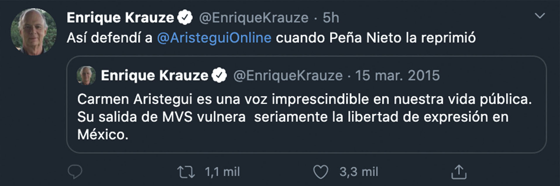 Karuze dejó en claro su defensa Aristegui cuando EPN la censuró por publicar el reportaje de La Casa Blanca (Foto: Twitter@EnriqueKrauze)