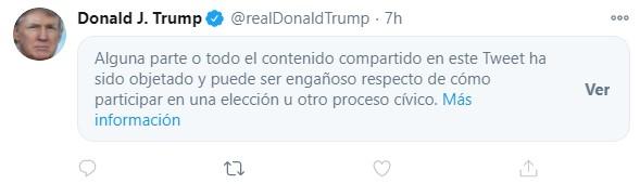 """Message marqué comme """"trompeur"""" par twitter"""