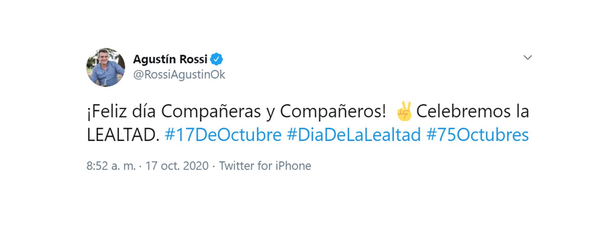 Mensaje del ministro de Defensa, Agustín Rossi