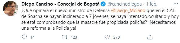 Políticos sobre Diego Molano
