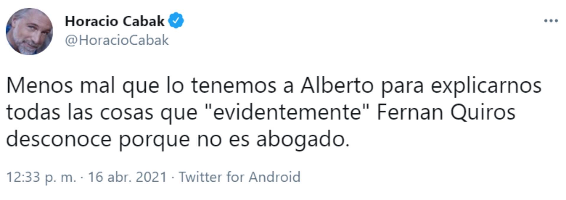 El mensaje de Horacio Cabak sobre el presidente Alberto Fernández