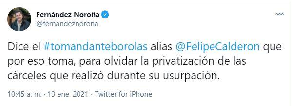 Tunden en redes a Felipe Calderón (Foto: Twitter / @fernandeznorona)
