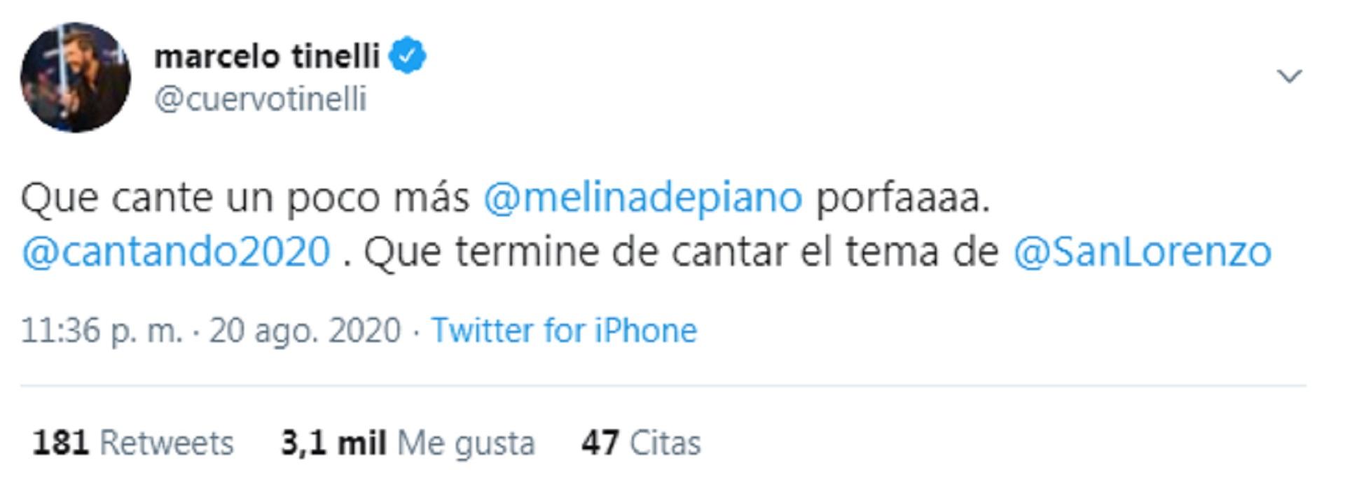 """El conductor alentó la convocatoria para que Melina De Piano se sume al """"Cantando 2020"""""""
