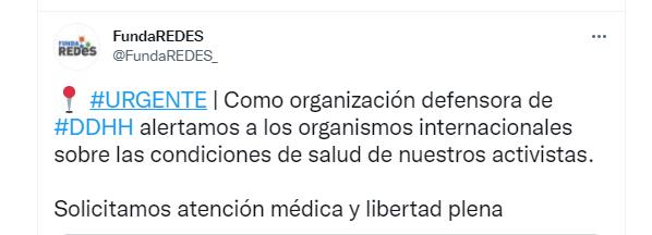 El mensaje publicado por el ONG Fundaredes en su cuenta en Twitter