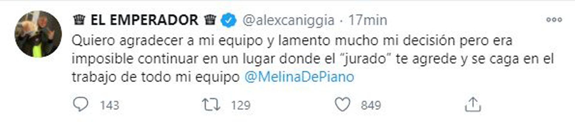 El mensaje de Alex Caniggia después de que quedar oficialmente afuera del
